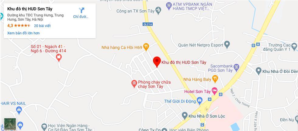 Vị trí Khu đô thị HUD Sơn Tây